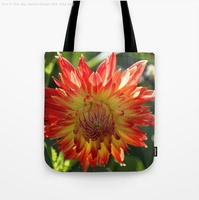 Fire In The Sky Dahlia Flower Tote Bag