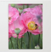 Pink Poppy Flowers With Honeybees Notebook2