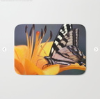 Swallowtail Butterfly On A Lily Flower Bath Mat