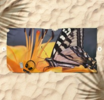 Swallowtail Butterfly On A Lily Flower Beach Towel 2