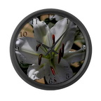 white lily flower large wall clock