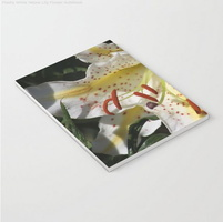 Flashy White Yellow Lily Flower Notebook