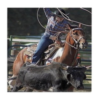 rodeo roping tile coaster
